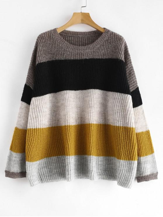 outfit Loose Knit Striped Oversized Sweater - MULTI ONE SIZE