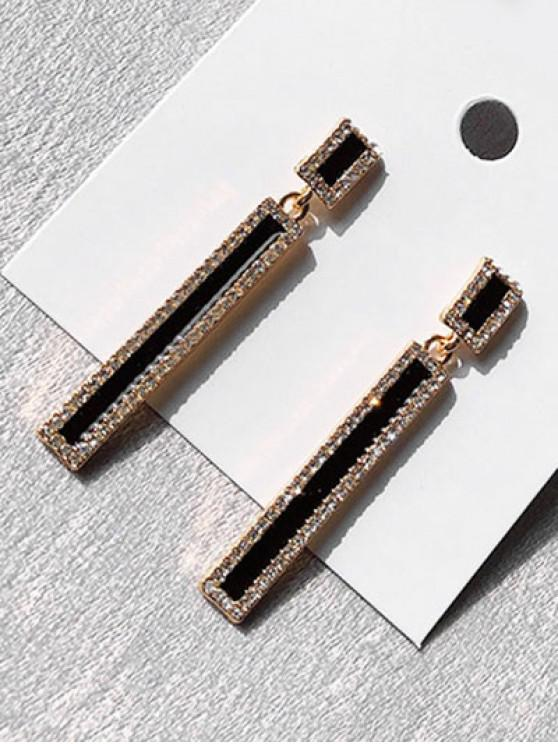Geometric Long Rhinestoned Design Drop Earrings - أسود
