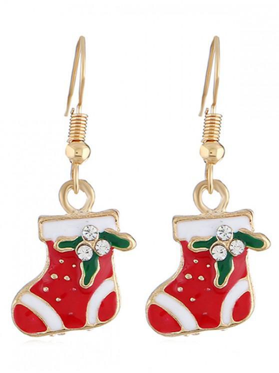 hot Rhinestone Inlaid Christmas Socks Earrings - GOLD