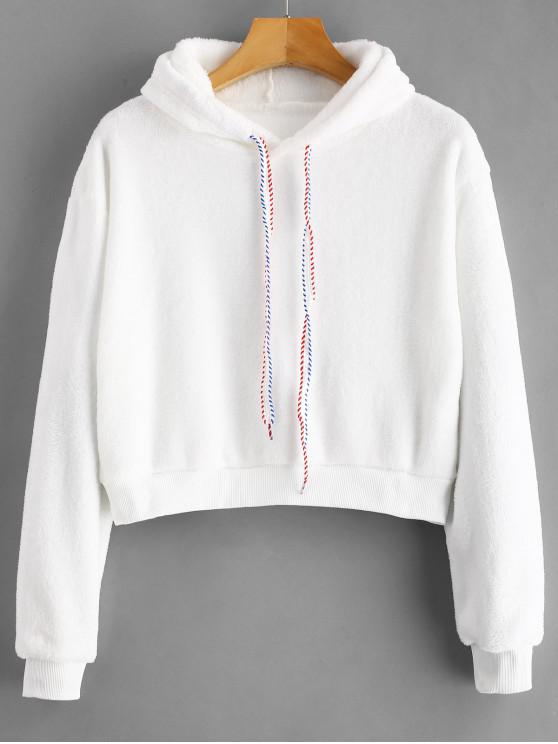 lady Graphic Drawstring Fleece Cropped Hoodie - WHITE L