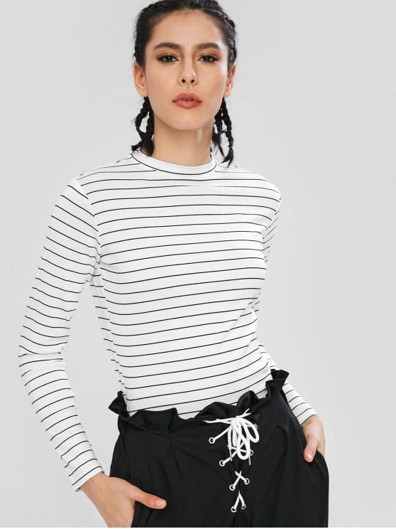 trendy Long Sleeves Stripe Elastic Crop Top - WHITE M