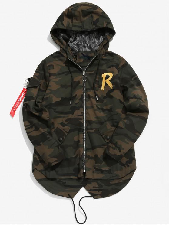 latest High Low Hem Hooded Camo Jacket - MULTI-B L