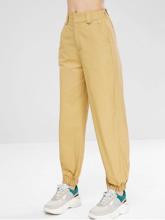 Zip Fly pantalones jogger casuales - Caqui Claro S