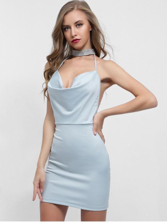buy Backless Choker Neck Fitted Dress - LIGHT BLUE M
