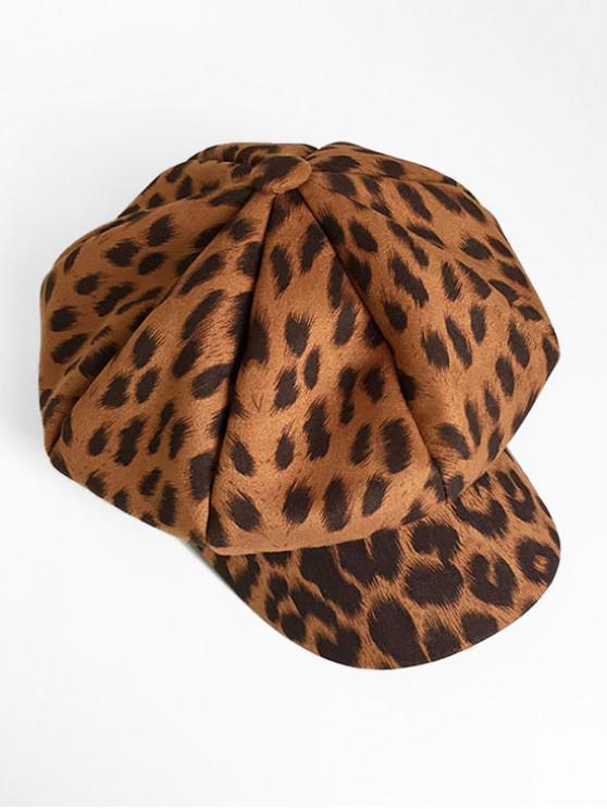 Vintage Leopard Printing Painter Hat - Coffee