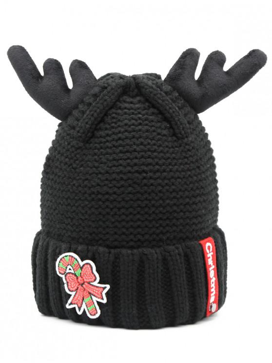 outfit Christmas Cane Antler Knitted Beanie - BLACK
