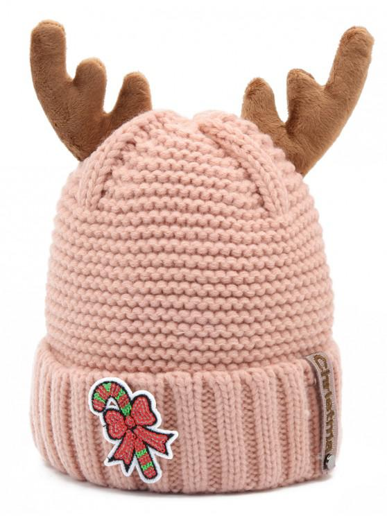 shop Christmas Cane Antler Knitted Beanie - PINK