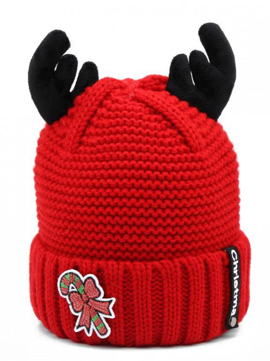 womens Christmas Cane Antler Knitted Beanie - RED