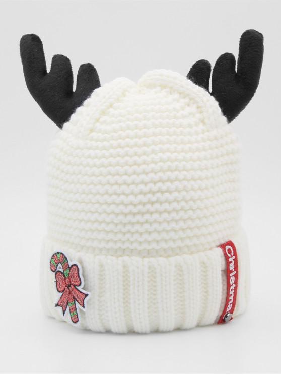 women Christmas Cane Antler Knitted Beanie - WHITE
