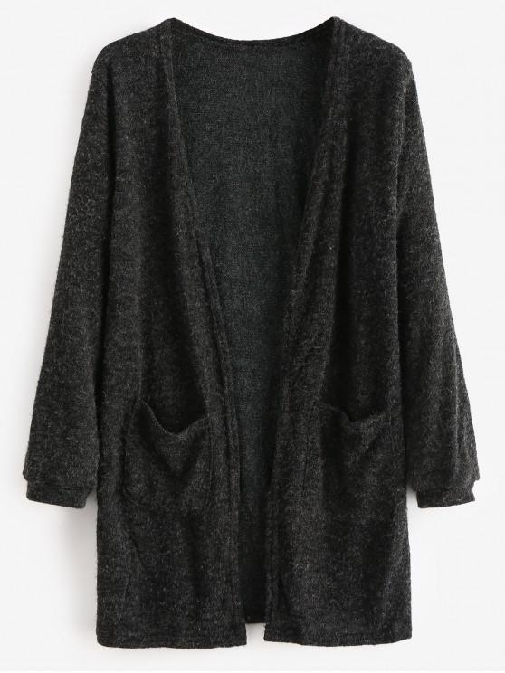 lady Open Front Two Pockets Longline Cardigan - BLACK L