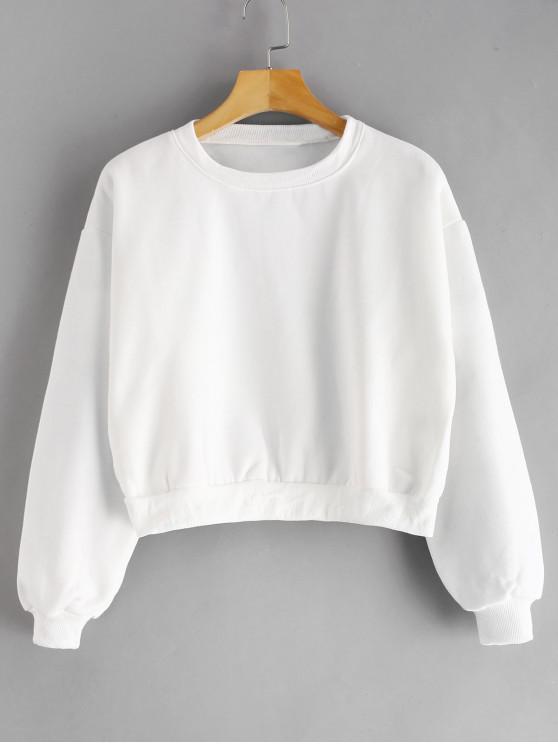 Cropped Basic Fleece Lined Sweatshirt   White by Zaful
