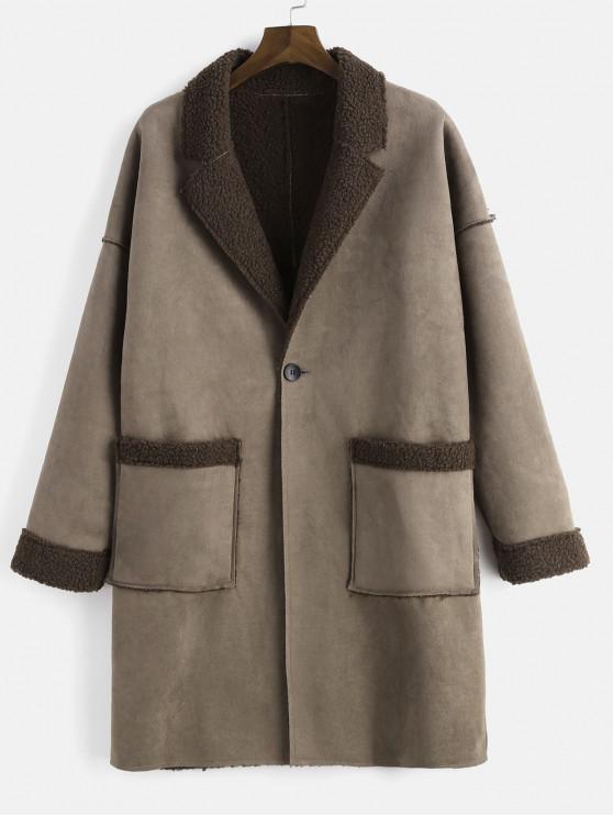 Escudo de un botón de solapa Fluffy Fleece One Button - Marrón Oscuro L