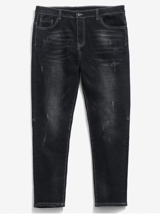 trendy Zipper Fly Frayed Hem Design Jeans - BLACK 38