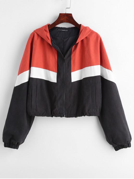 fancy ZAFUL Zip Up Tricolor Drawcord Waist Jacket - MULTI S