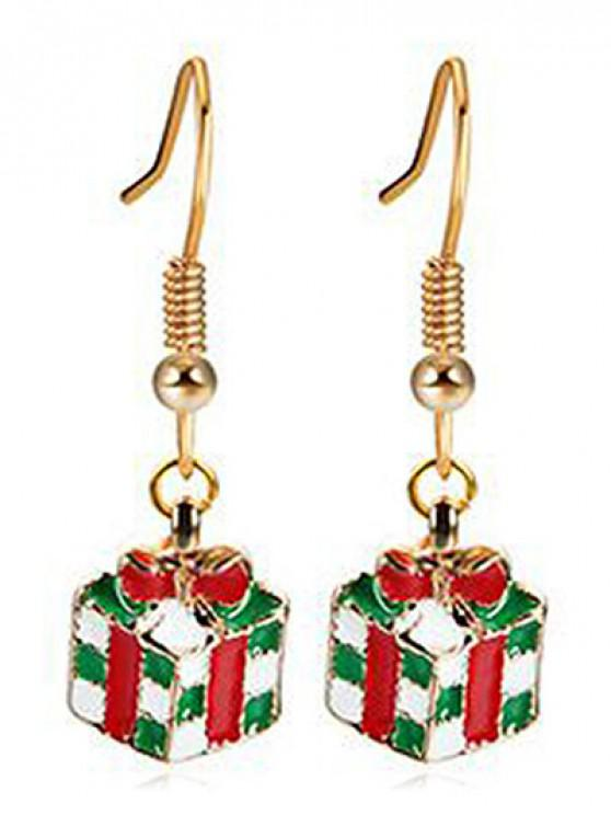 Christmas Bowknot Present Dangle Earrings - Ouro
