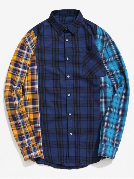 Camicia A Quadretti A Blocchi Di Colore - Blu Scura Denim  2XL