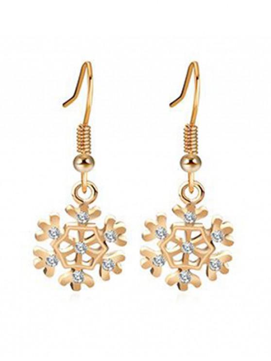 sale Rhinestone Inlaid Snowflake Christmas Earrings - GOLD