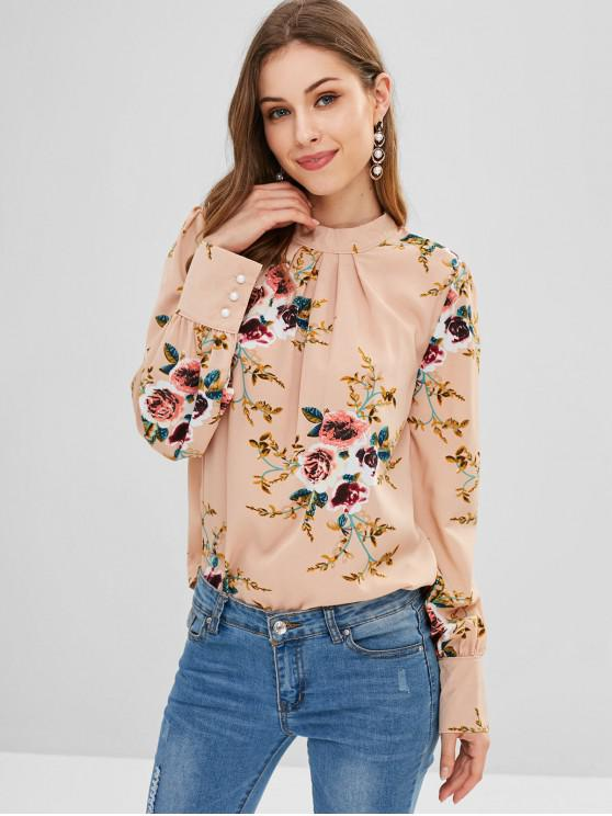 online Keyhole Back Pleated Floral Blouse - MULTI L