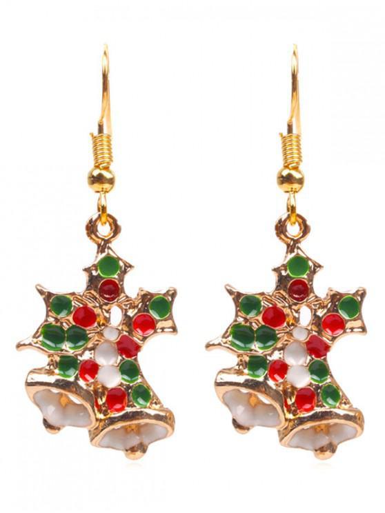 fancy Novelty Christmas Bell Shape Earrings - GOLD