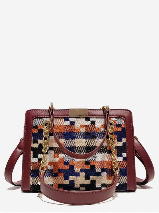 latest Statement Plaid Printed Handbag - RED WINE