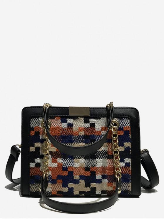 fashion Statement Plaid Printed Handbag - BLACK