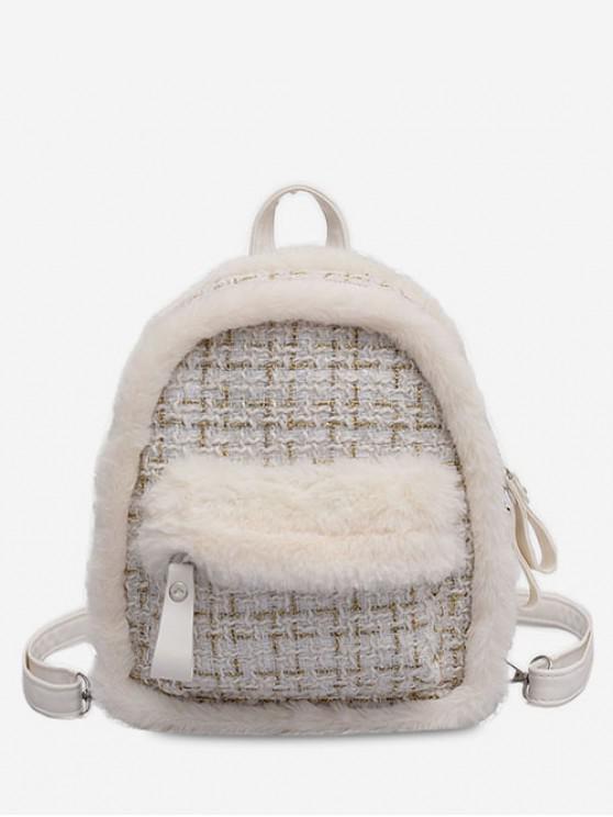 chic Plaid Fluffy Design Backpack - WHITE