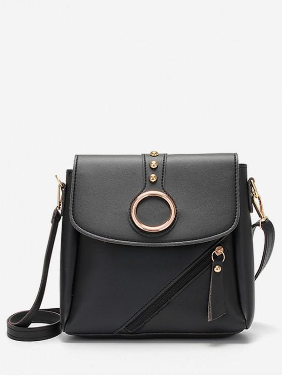 buy Rivet Design Metal Hoop Crossbody Bag - BLACK