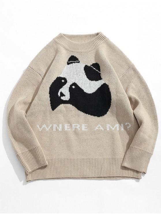 Maglione Stampato Lettere Con Motivo Di Panda - Cachi Chiaro L
