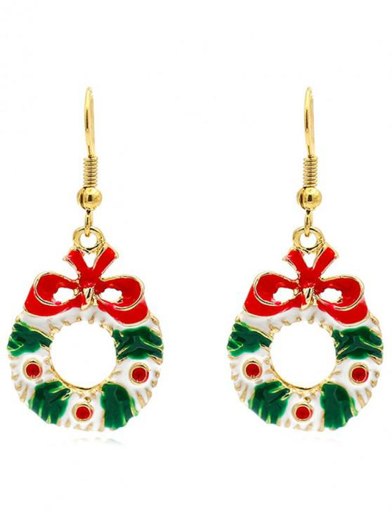 affordable Christmas Decorative Flower Garland Earrings - GOLD