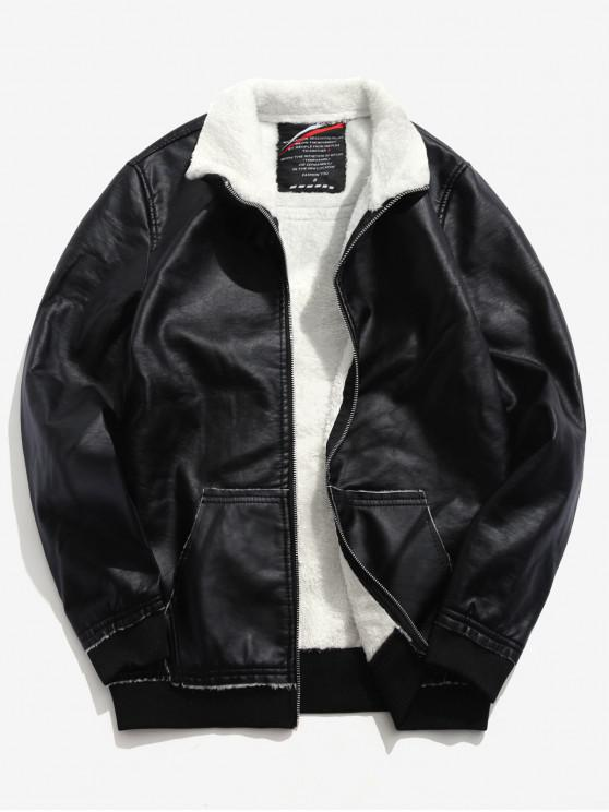 chic Fluffy Lined PU Leather Jacket - BLACK S