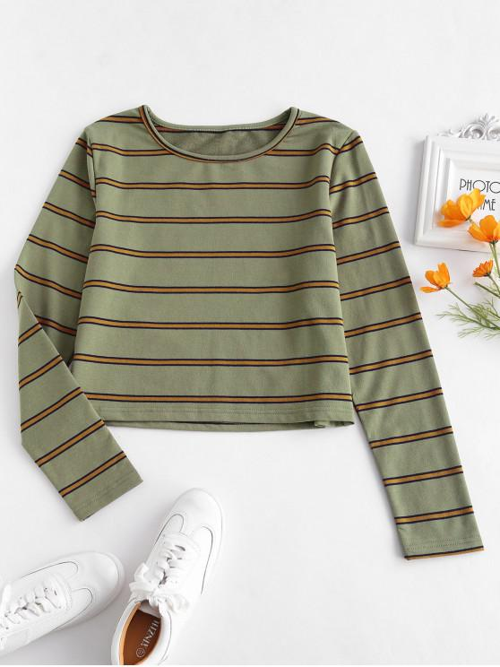 buy ZAFUL Long Sleeve Striped Tee - ARMY GREEN L