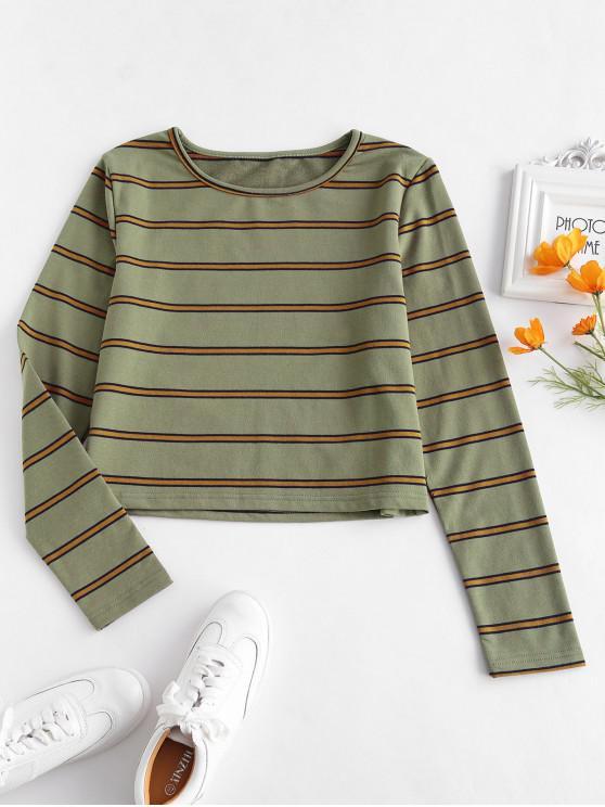 womens ZAFUL Long Sleeve Striped Tee - ARMY GREEN XL