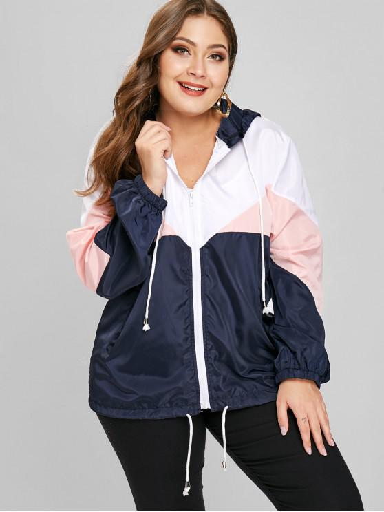 chic Tricolor Plus Size Light Windbreaker Jacket - PINK 3X