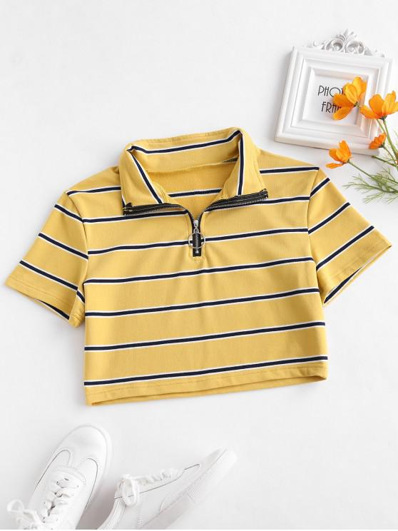 trendy ZAFUL Striped Crop Half Zip Tee - BEE YELLOW XL