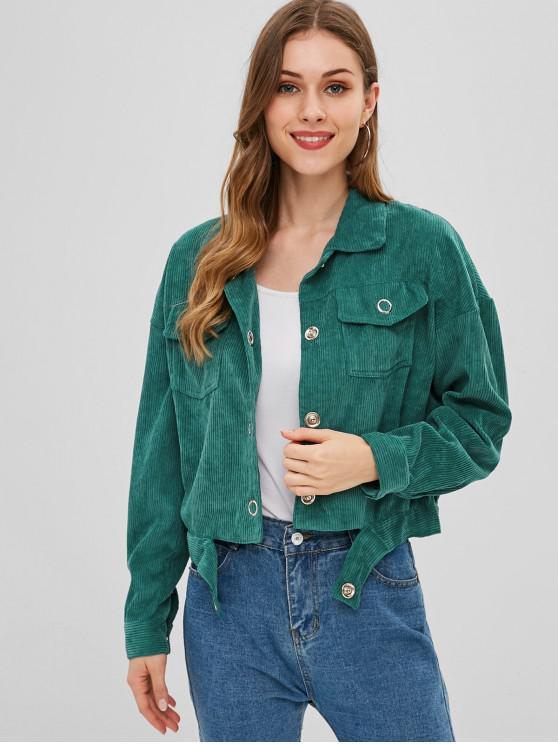 best Pocket  Drop Shoulder Corduroy Jacket - DEEP GREEN M