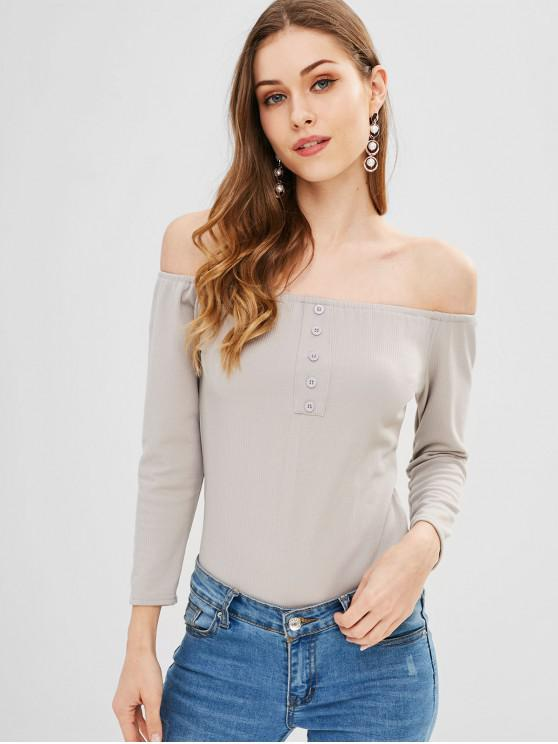 d1a57eb81f16 27% OFF] 2019 Hook And Loop Off The Shoulder Bodysuit In GRAY GOOSE ...