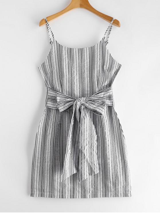 Seersucker Knot Striped Cami Dress - Branco M