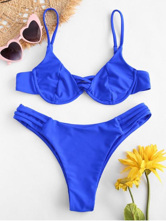affordable ZAFUL Strappy Underwire Bikini Set - COBALT BLUE S