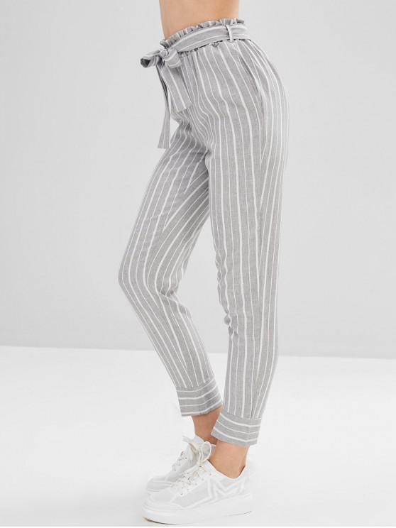 Belted Striped High Waisted Tapered Pants   Multi L by Zaful