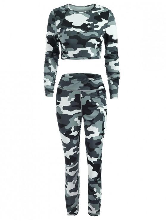 Sport Gym Camo camiseta y leggings conjunto - Multi M