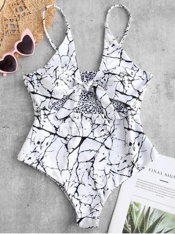shop ZAFUL Marble Print Cutout Reversible Swimsuit - WHITE S