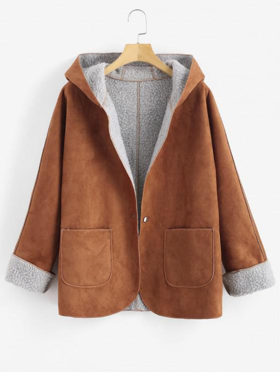 fancy Cuffed Sleeves Hooded Sheepskin Coat - BROWN S