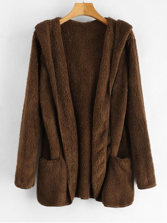Casaco de peluche dianteiro aberto macio com capuz - Marrom escuro S