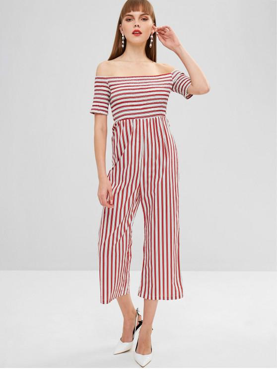 ZAFUL Fora Ombro Smocked Striped Loose Jumpsuit - Castanha Vermelha XL