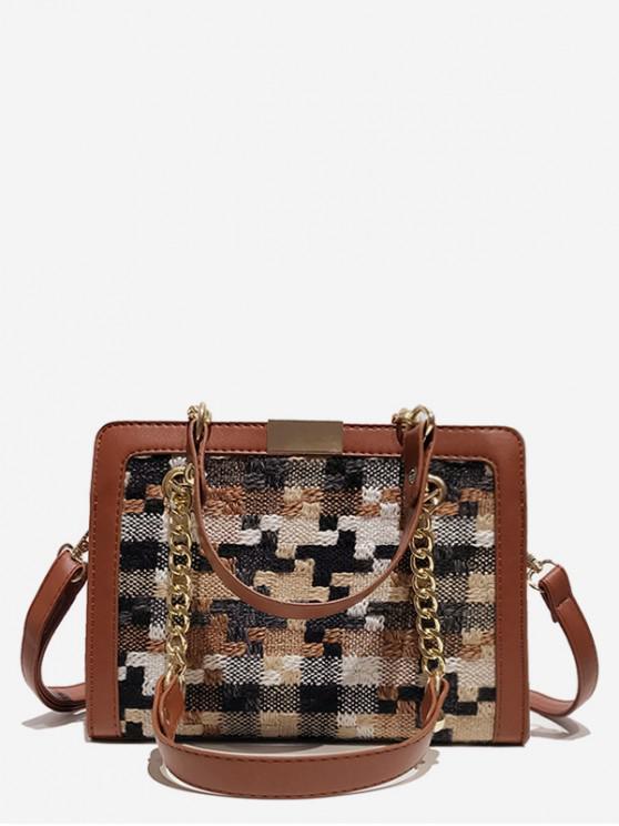new Statement Plaid Printed Handbag - LIGHT BROWN