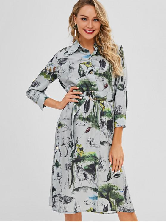 lady Side Buttoned Printed Shirt Dress - MULTI S