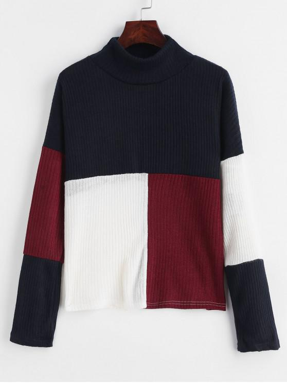 latest Mock Neck Color Block Pullover Sweater - MIDNIGHT BLUE M