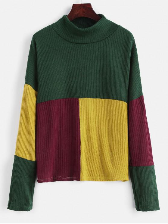 shop Mock Neck Color Block Pullover Sweater - DEEP GREEN L