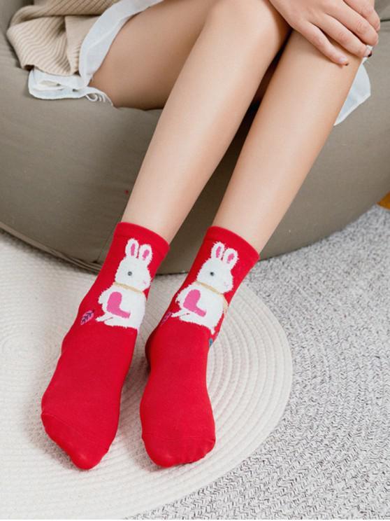 trendy Stylish Rabbit Print Quarter Socks - RED