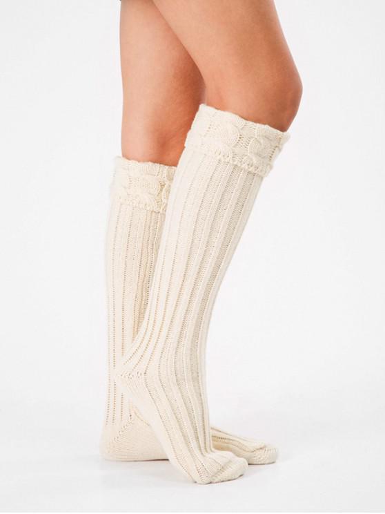 sale Solid Color Knitting High Knee Socks - WHITE